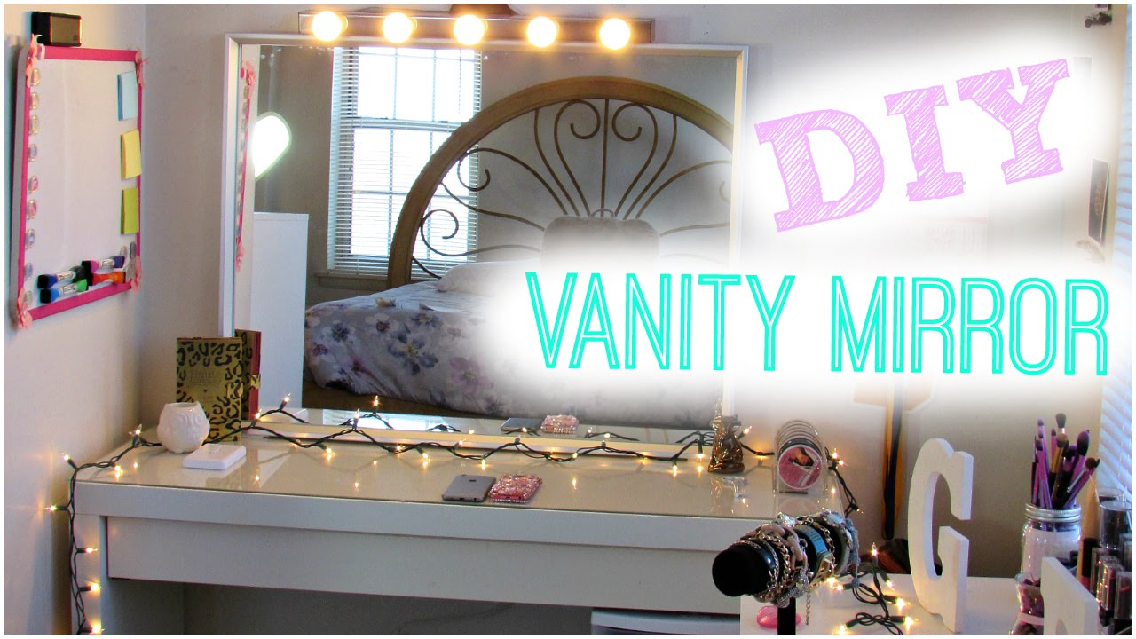diy hollywood vanity light mirror diy room decor easy cheap no drilling youtube. Black Bedroom Furniture Sets. Home Design Ideas