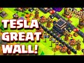 "Clash Of Clans ""TESLA GREAT WALL"" FUNNY TOWNHALL 9 TROLL BASE DEFENDS 