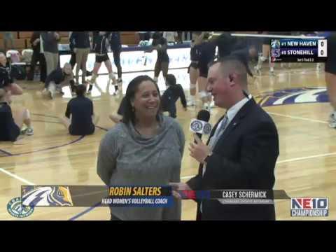New Haven Women's Volleyball Highlights Vs. Stonehill (2017 NE10 Seminfinals)