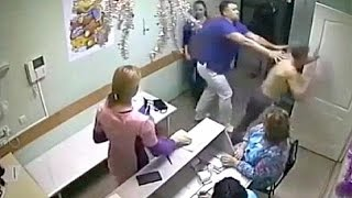 CCTV shows fight between doctor and patient in Russia