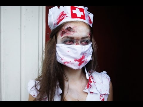 Halloween makeup tutorial- Zombie nurse - YouTube