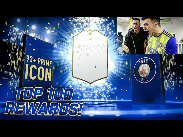 2 ICONS! 93+ PRIME ICON IN TOP 100 FUT CHAMPIONS REWARDS!! 40 INFORMS!! FIFA 19 TOTY PACK OPENING!