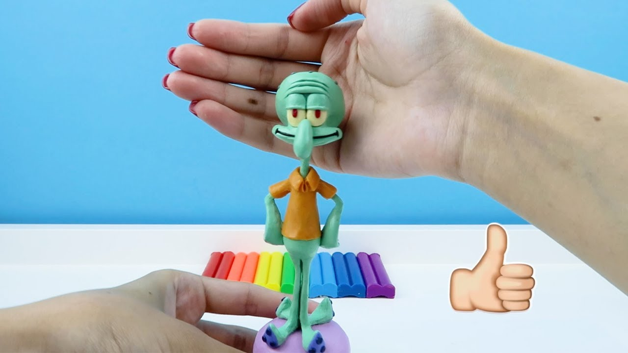 Squidward Tentacles in Spongebob made from polymer clay, sculpture timelapse. Tutorial video #shorts