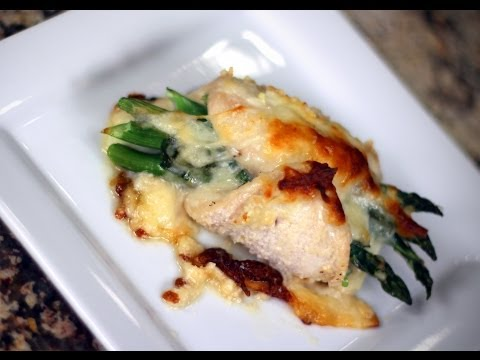 Asparagus Stuffed Chicken Breast Recipe Baked With Mozzarella Cheese And Onion by Rockin Robin