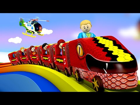 Snake Train | Cartoon Toy Train Choo Choo City - Toy Factory Cartoon Train