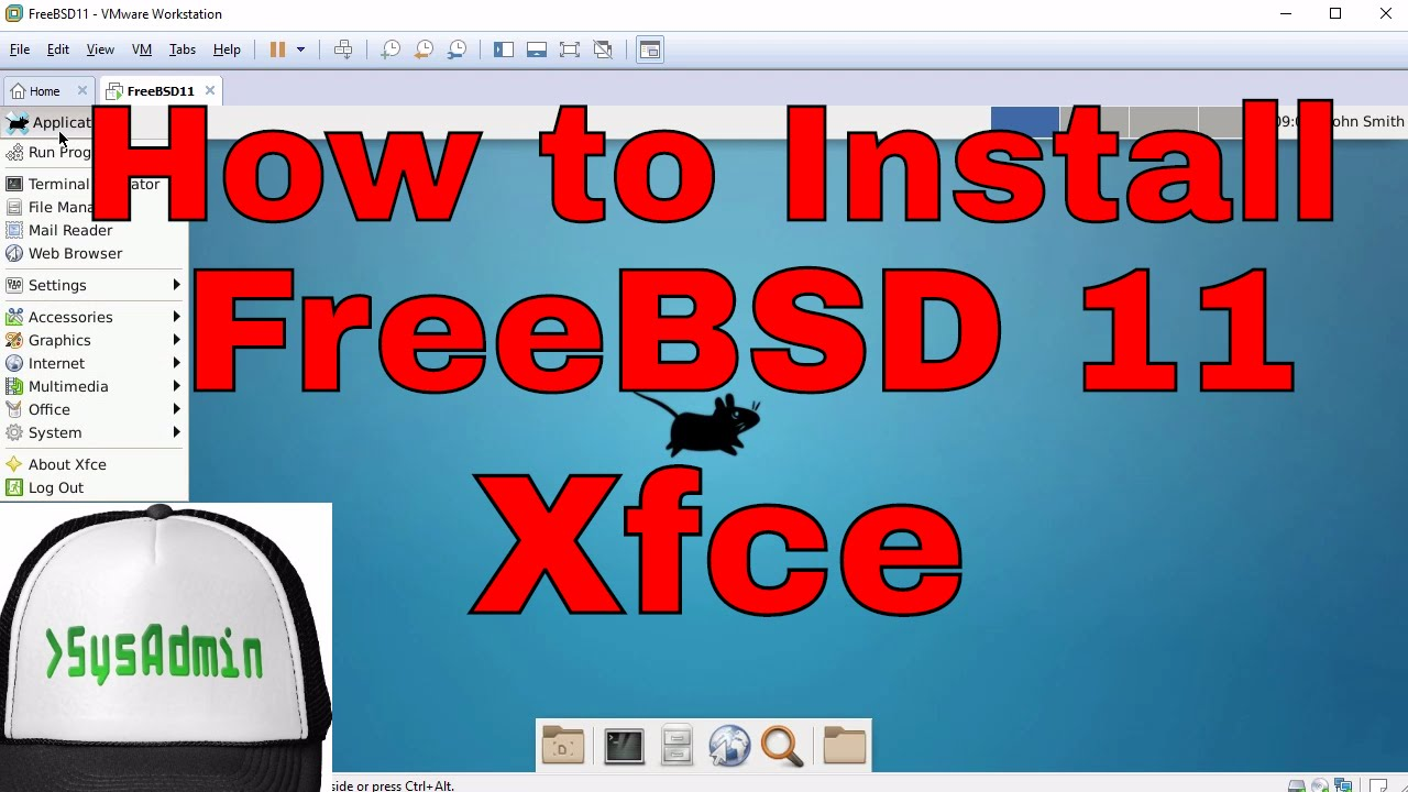 How to Install FreeBSD 11 + XFCE Desktop + Apps + VMware Tools + Review on  VMware Workstation [HD]