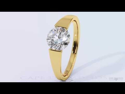 Tension diamond and yellow gold ring wholsale at Durban Jewellery Stores