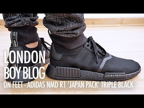 On Feet Adidas Nmd R1 Japan Pack Triple Black Youtube