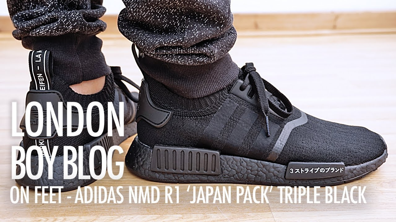 best sneakers 24007 2f011 On Feet - Adidas NMD R1 'Japan Pack' Triple Black