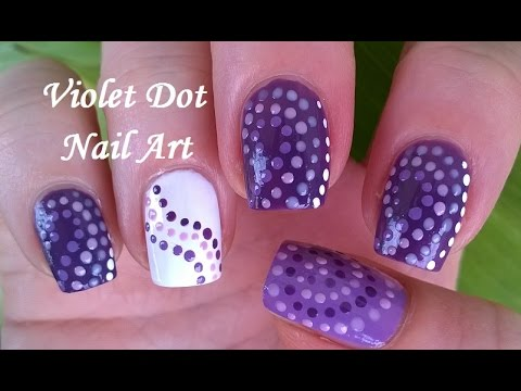 Purple Violet White Dotting Tool Nail Art Diy Three Easy Nail