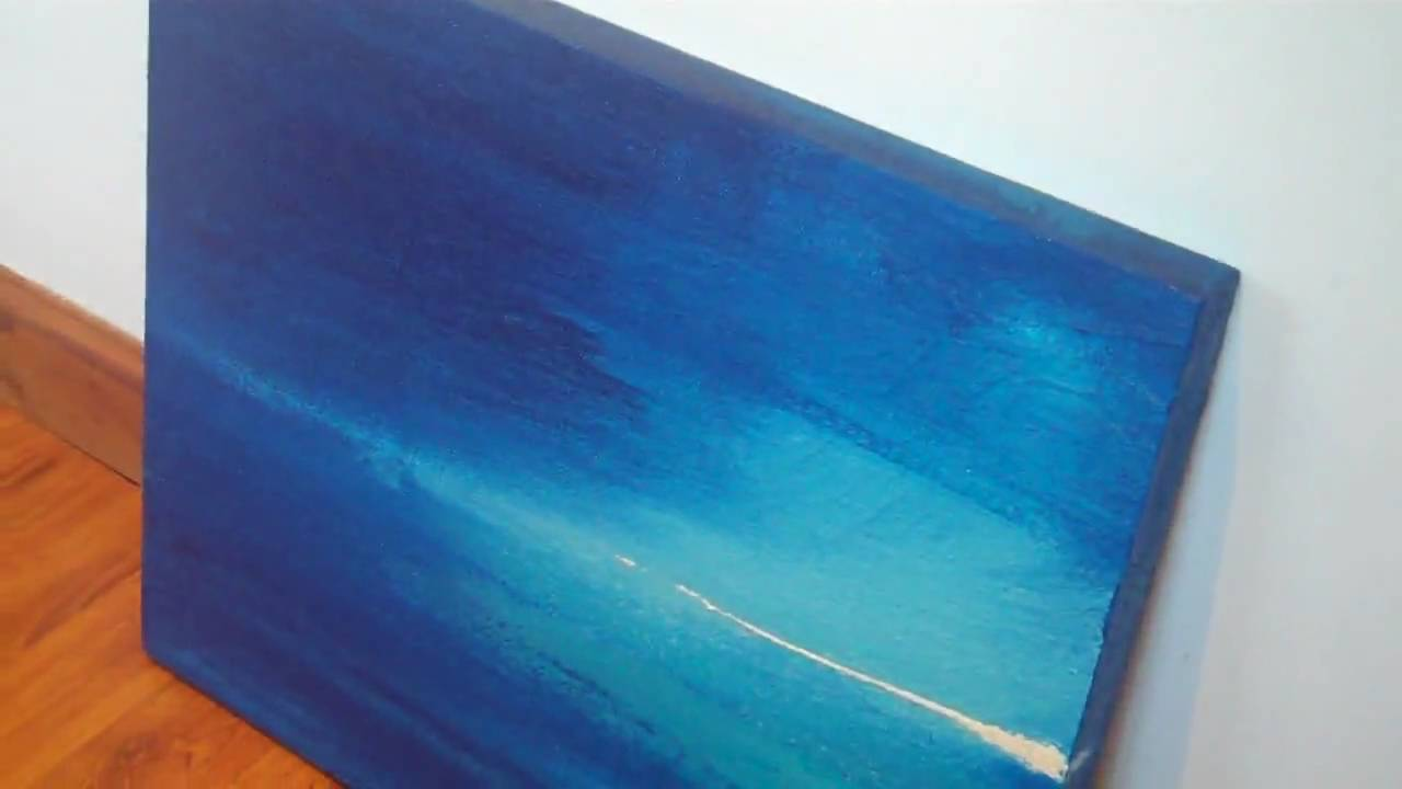 Darkest Night Blue Textured Abstract Painting On Canvas