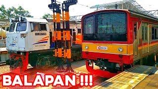 BALAPAN!! Kereta Api Kertajaya VS KRL Commuter Line Berangkat Stasiun Jatinegara