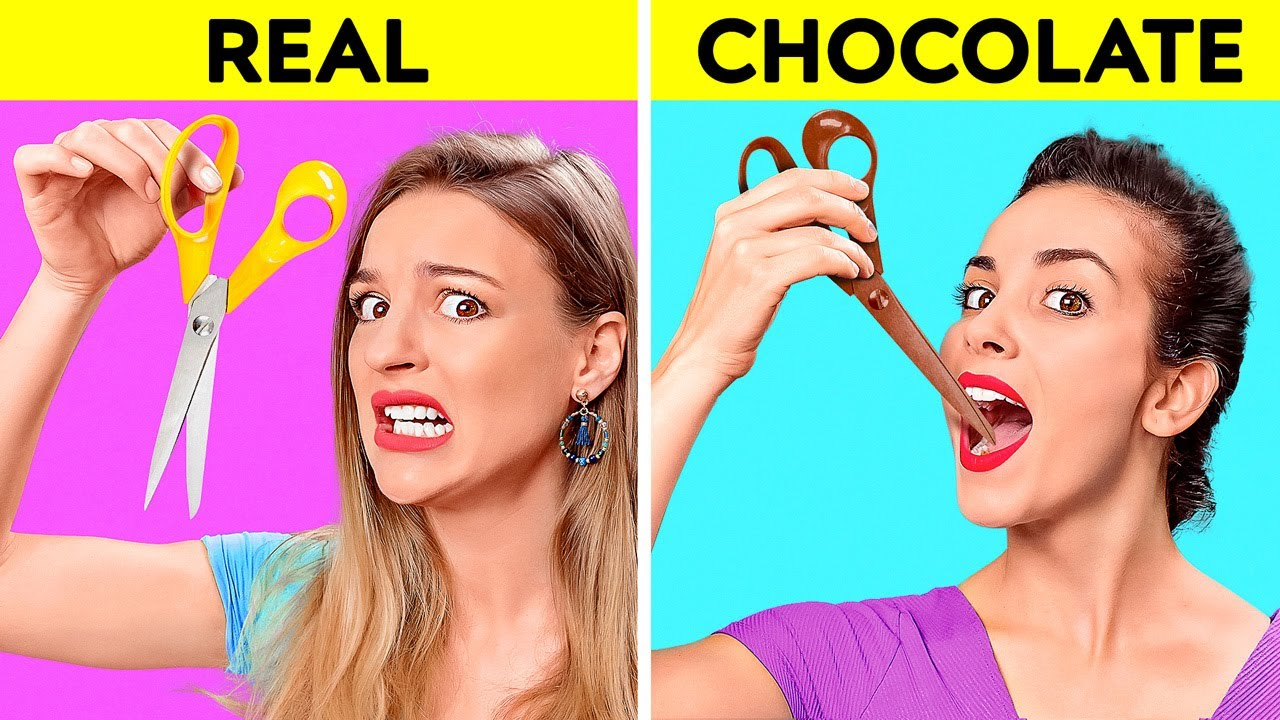 Real Vs Chocolate Food Challenge Last To Stop Eating Wins Taste Test By 123 Go Challenge Youtube