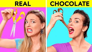 REAL VS CHOCOLATE FOOD CHALLENGE || Last To STOP Eating Wins! Taste Test by 123 GO! CHALLENGE