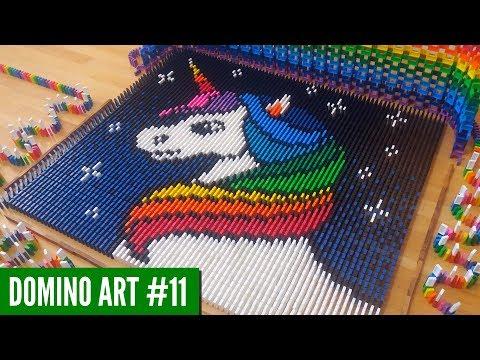 SATISFYING Rainbow Unicorn Art Made From 5,500 DOMINOES | Domino Art #11