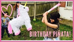 Alicia's Birthday Party unicorn piñata!! With hilarious results!! l Bowie Family Vlogs