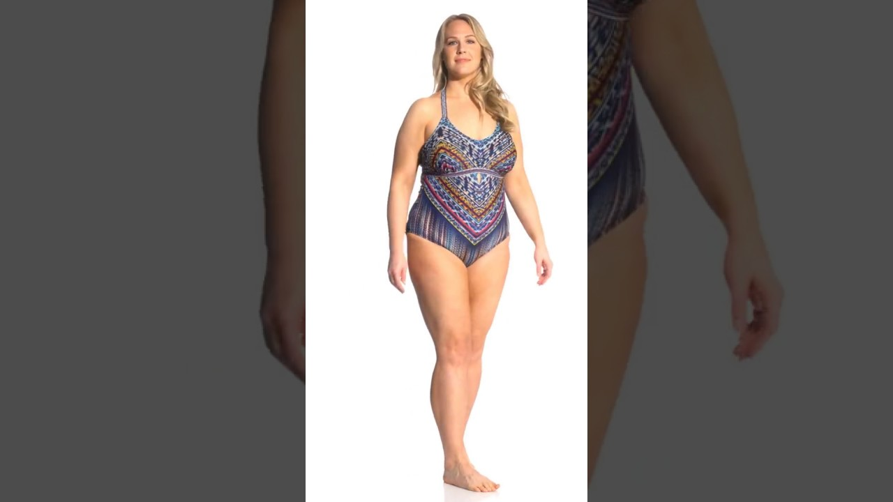 2869ed87cf Jessica Simpson Swimwear Plus Size Dusty Road Halter One Piece Swimsuit |  SwimOutlet.com