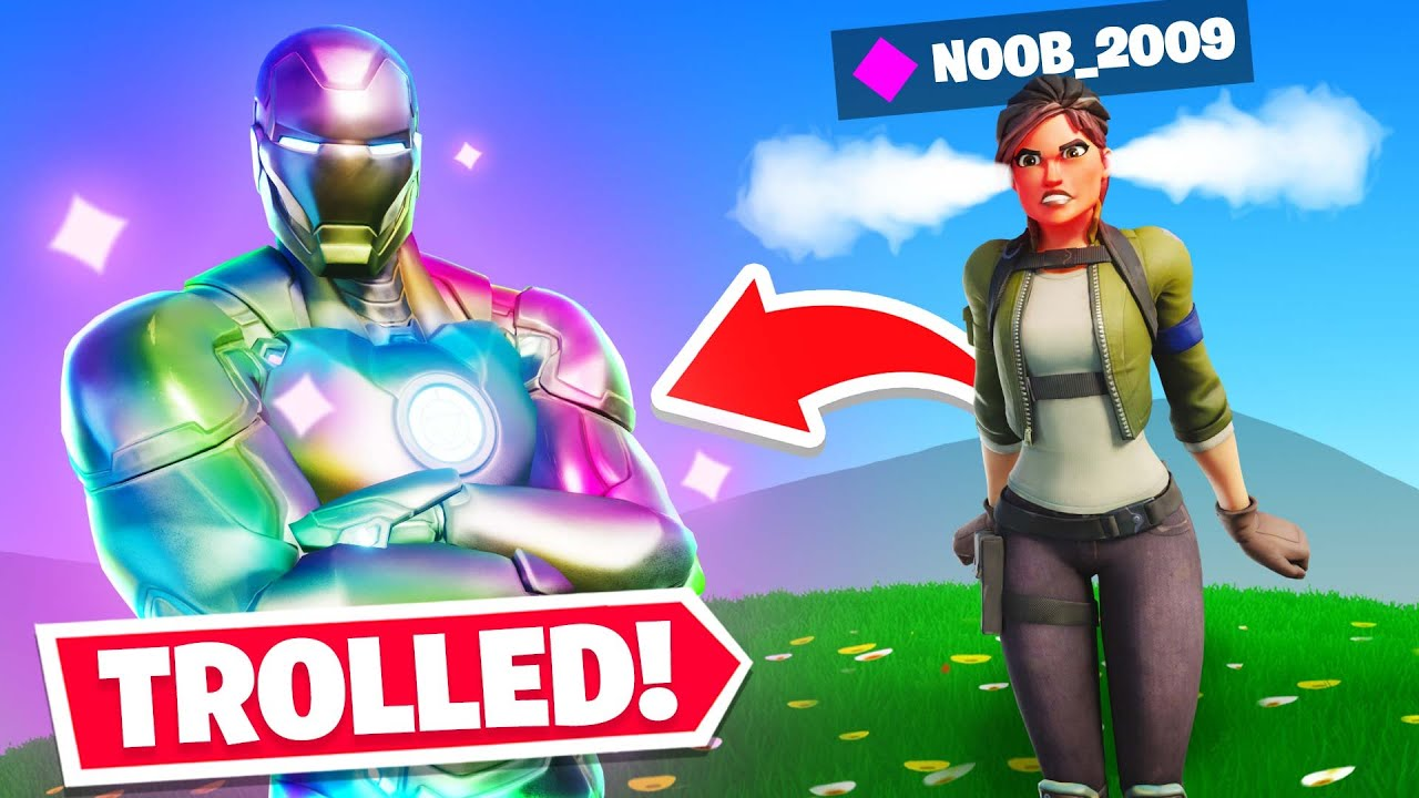 TROLLING noobs with HOLOFOIL IRONMAN In Fortnite! thumbnail