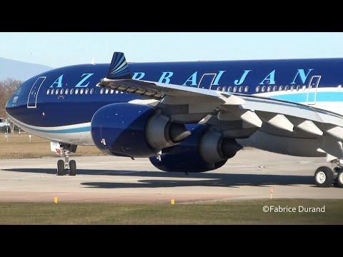 Azerbaijan Government A340-600 landing/take off at Geneva Airport [GVA/LSGG]