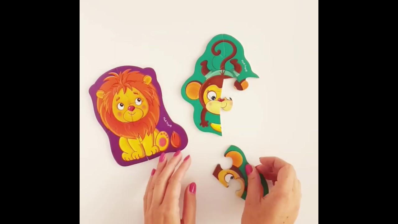 Vladi Toys VT3208-07 Мягкие магнитные Baby puzzle Львенок и обезьянка
