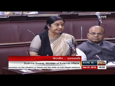 Smt. Sushma Swaraj's reply on the discussion on situation in Nepal & state of Indo-Nepal relations