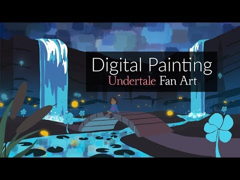 "Undertale: Waterfall Digital Landscape Painting | ""Quiet Waters"" by Rachel Delgado"