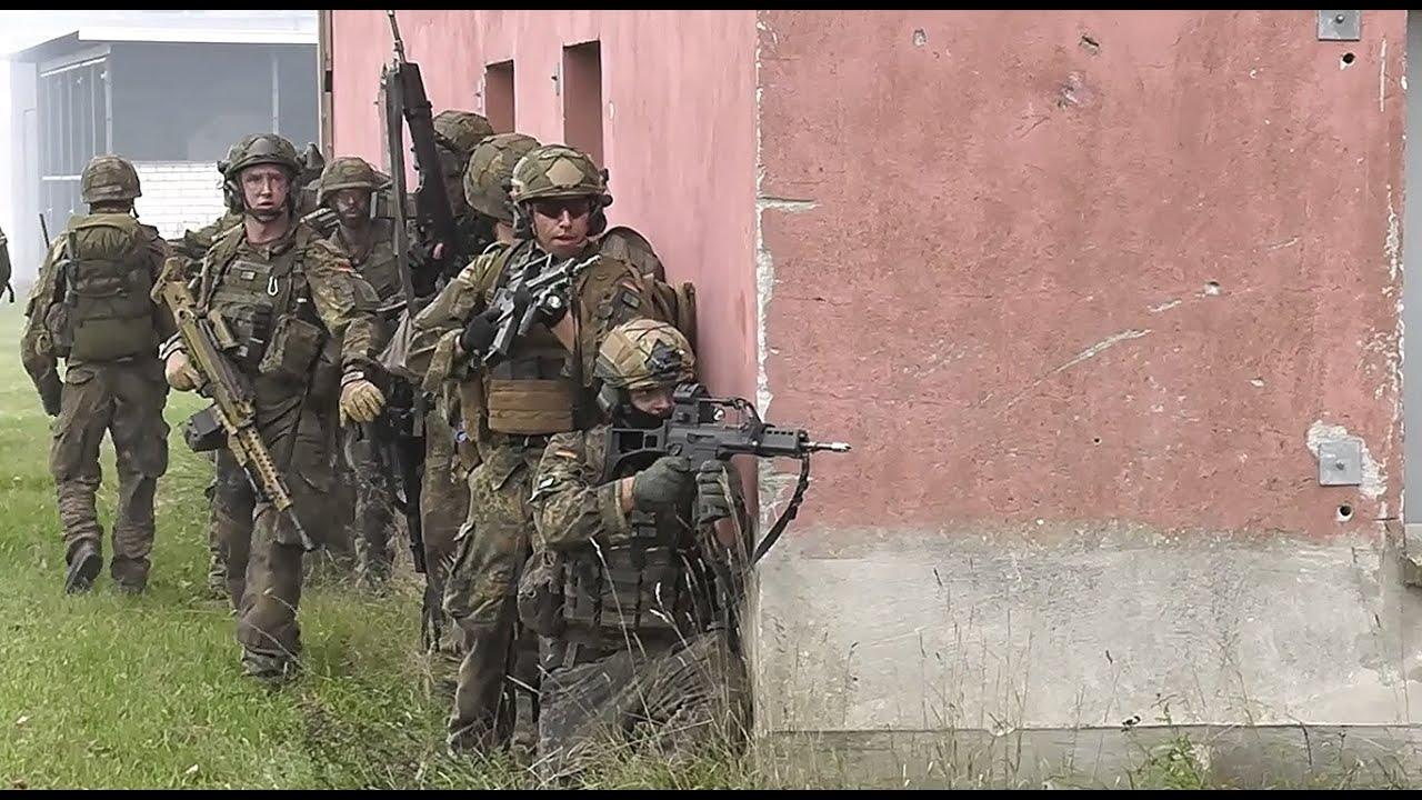 German Army Fallschirmjäger (Paratroopers) Storm Village During Urban Combat Training