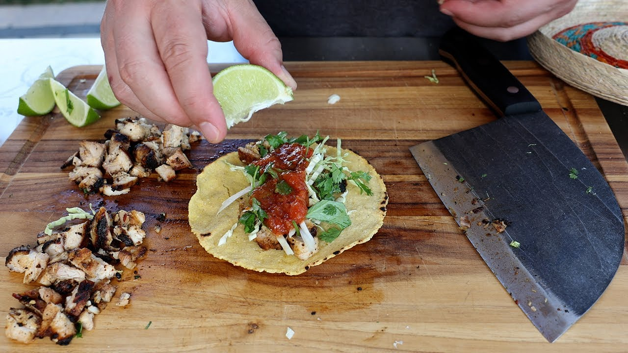 Making Chipotle Chicken Tacos on the Grill
