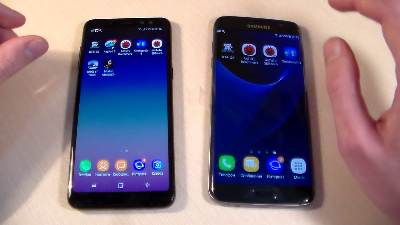 Samsung Galaxy A8 2018 Vs Samsung Galaxy S7 Edge Youtube