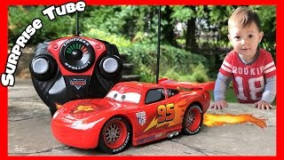 Joey plays with RC Lightning McQueen