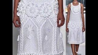Вязание с Аленой Никифоровой. Белое платье с цветами. Начало 1-й вариант.