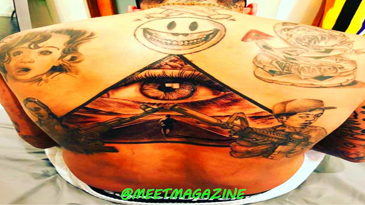 Chris Brown ILLUMINATI PYRAMID Tattoo on his back exposed