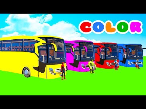 Thumbnail: LEARN COLOR BIG BUS with Superheroes Cartoon for kids and Spiderman for babies