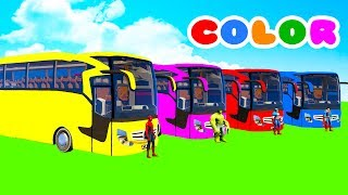 LEARN COLOR BIG BUS with Superheroes Cartoon for kids and Spiderman for babies
