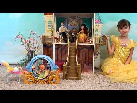 Thumbnail: Princess Story: Princess Play Date with Anna and Elsa, Beauty and the Beast Castle, Belle Toys