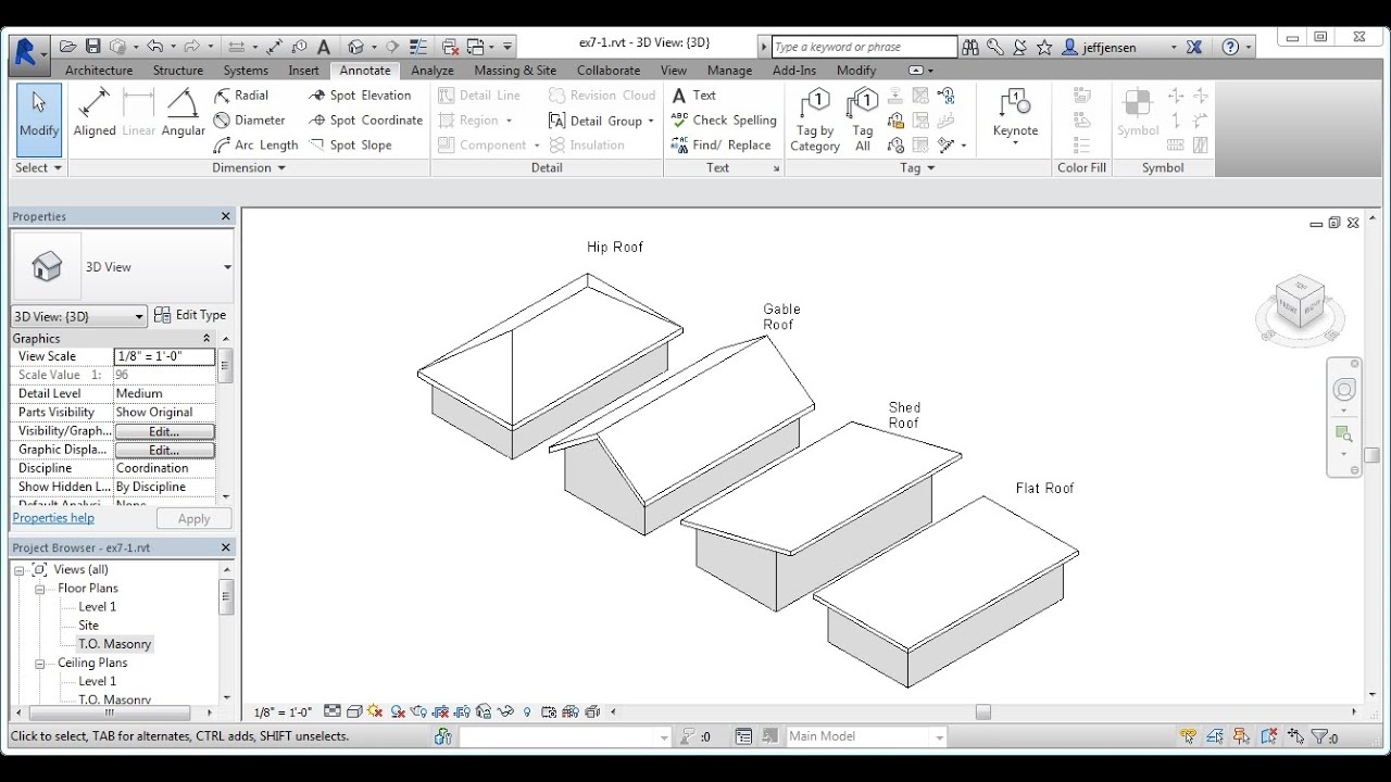 Jensen 39 s residential design using revit 2014 ch07 1 roof design options youtube - Options for roof remodeling ...