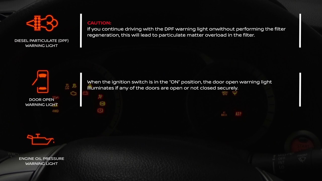 Nissan Navara Warning Lights Meaning Youtube