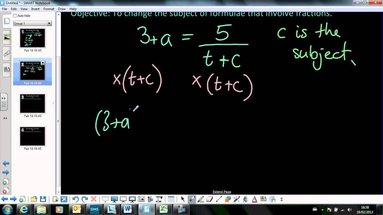2 Rearranging Formula Involving Fractions