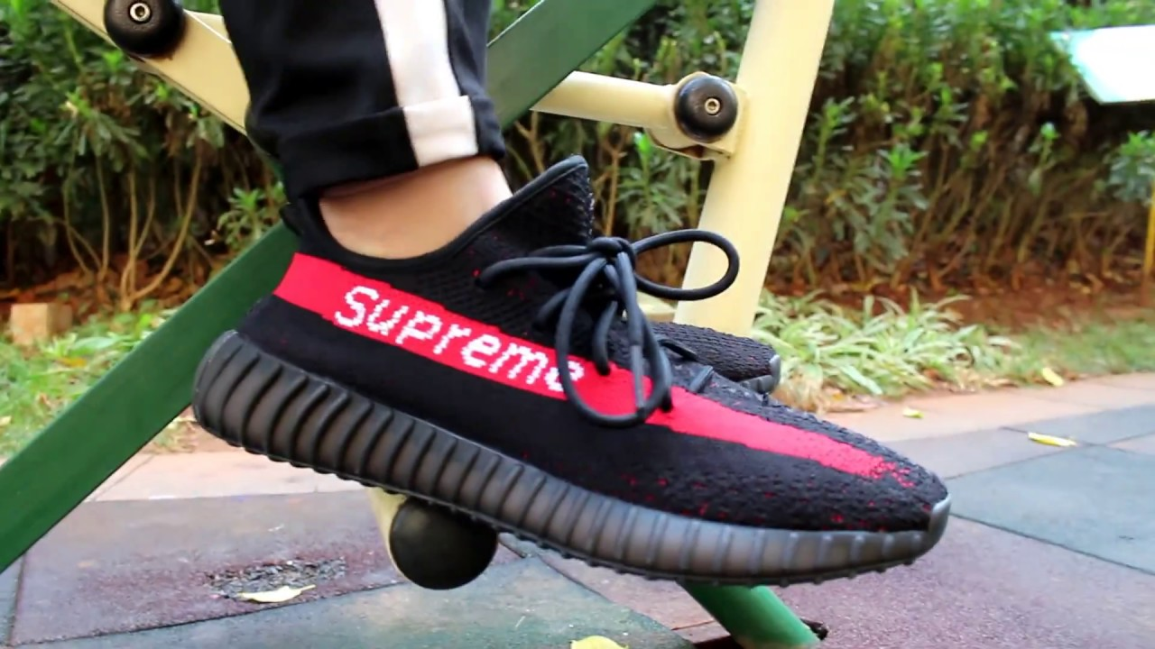 0d6cc1f5f1800 BEST CUSTOM OF YEEZY V2  HONEST THOUGH FOR YEEZY BOOST 350 V2 SUPREME X BLACK  RED