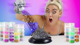 MIXING 100 BOTTLES OF GLITTER INTO BLACK GLOSSY SLIME | SO SATISFYING UGH! | NICOLE SKYES