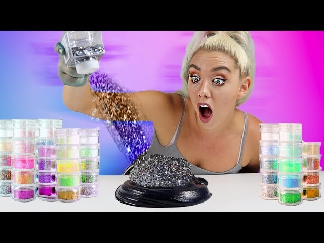 mixing-100-bottles-of-glitter-into-black-glossy-slime-so-satisfying-ugh