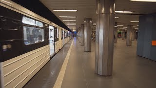 Hungary, Budapest, Metro ride from Ferenciek tere to Corvin–negyed