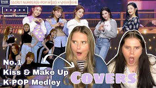 SECRET NUMBER DANCE COVERS (No.1, Kiss and Make Up & K-POP Medley) REACTION!!! - Triplets REACTS