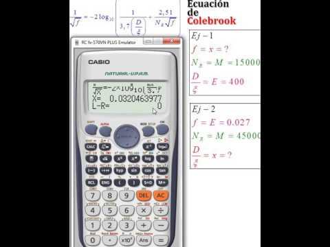solución de la ecuación de Colebrook con casio