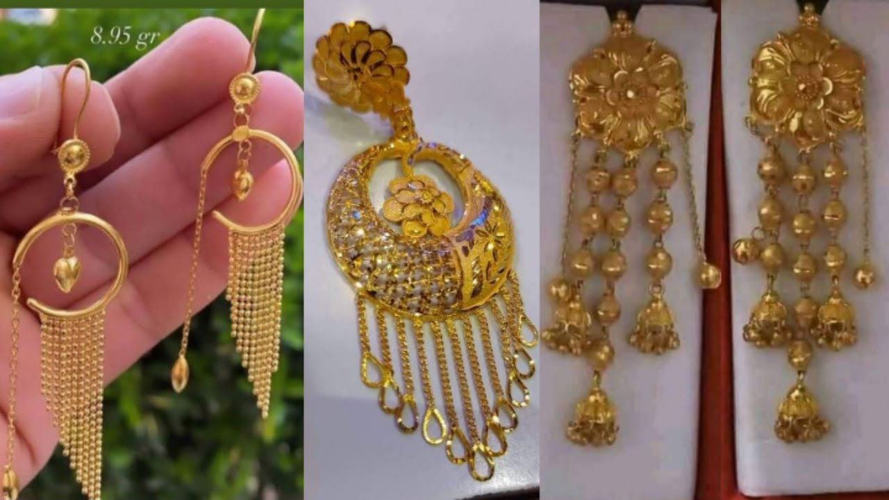 Gold Earrings Design with weight and price//#stylish#earring//long hanging earring new design