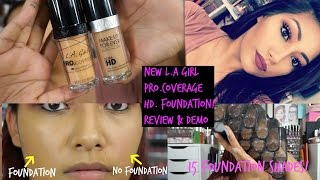 NEW L.A Girl Pro. Coverage Foundation REVIEW + DEMO + 15 Foundation Swatches!