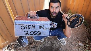 FOUND A TIME CAPSULE WHILE METAL DETECTING IN MY BACKYARD!!! PART 2: BURYING MY OWN ON TOP OF IT!!!
