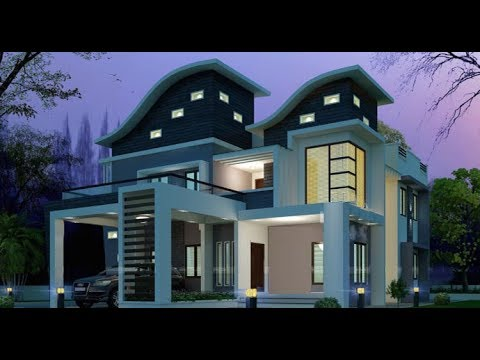 Modern Double Floor House 1300 Sft For 13 Lakh Elevation