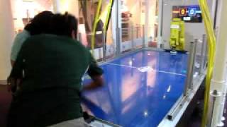 Shail versus Robot Air Hockey -- Shail wins! Roboworld Exhibit Carnegie Science Museum