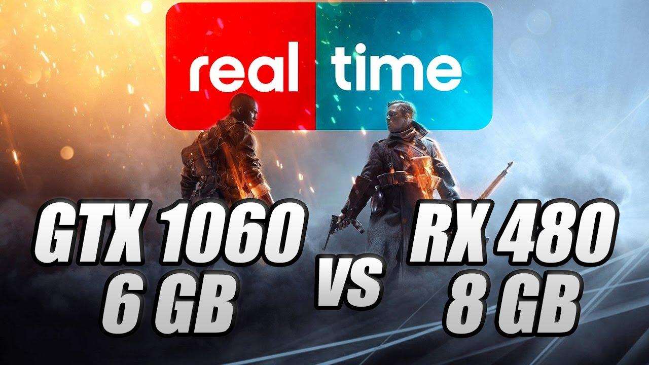 BF1 в реальном времени GTX 1060 6 против RX 480 8 (первый в мире)